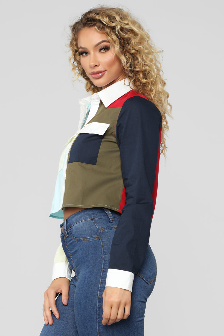 Colorblock Problems Collared Shirt - Multi
