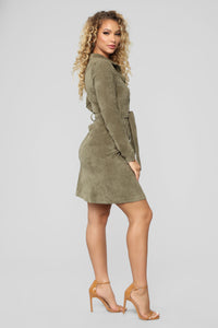 Sweet Love Corduroy Midi Dress - Olive
