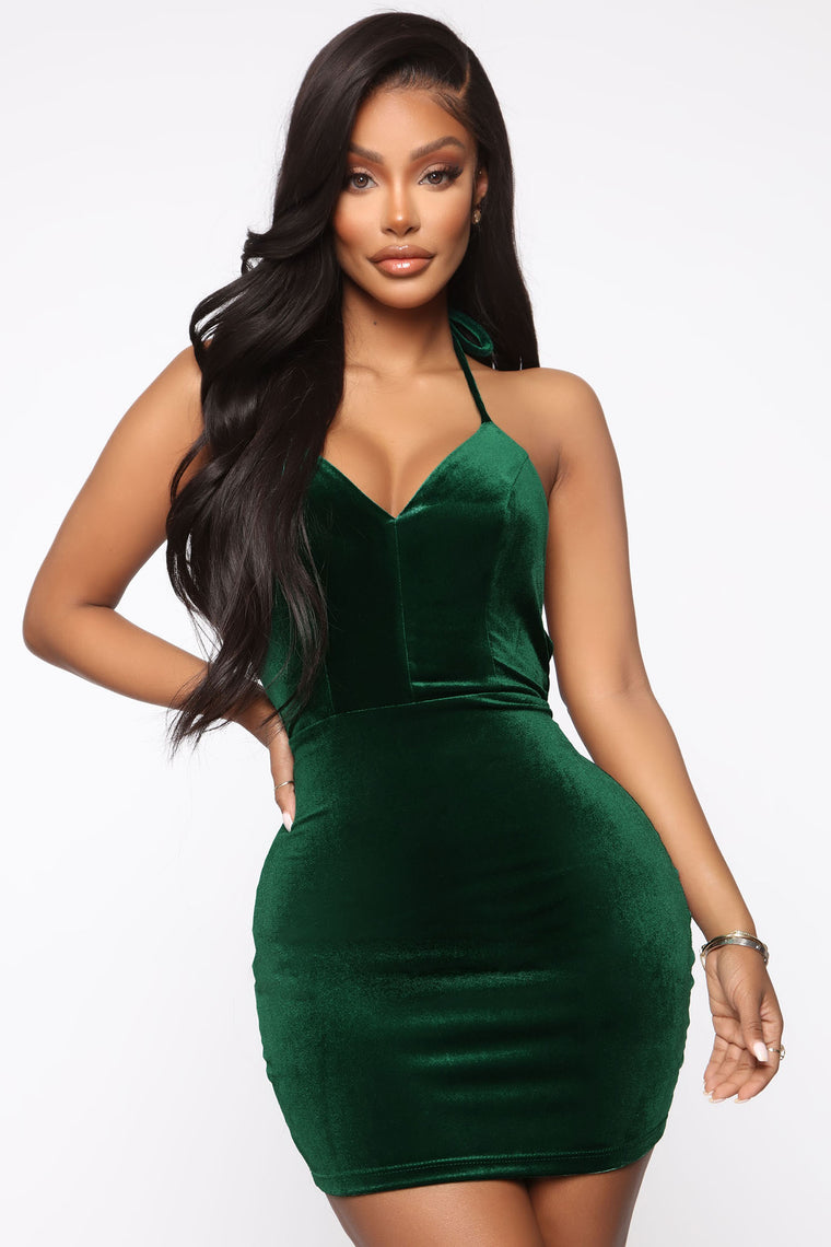 Crash My Party Velvet Mini Dress - Hunter