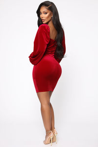 Lady Of The House Velvet Mini Dress - Red Angle 4