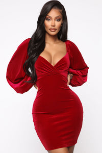 Lady Of The House Velvet Mini Dress - Red Angle 1