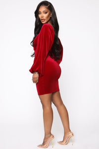 Lady Of The House Velvet Mini Dress - Red Angle 3