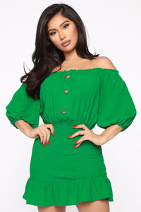 Casually Candid Mini Dress - Green
