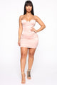Keep It Unlocked Satin Mini Dress - Blush