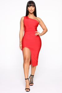 Stole Your Heart Bandage Midi Dress - Red Angle 1