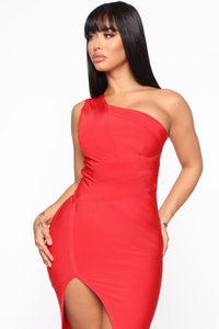 Stole Your Heart Bandage Midi Dress - Red Angle 2