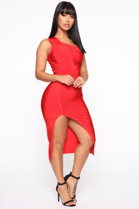 Stole Your Heart Bandage Midi Dress - Red Angle 3