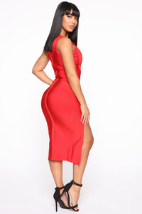 Stole Your Heart Bandage Midi Dress - Red Angle 4