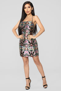 Hypnotized By You Embroidered Dress - Black