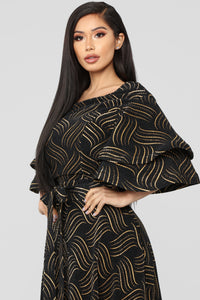 In The Groove Printed Maxi Dress - Black/Gold