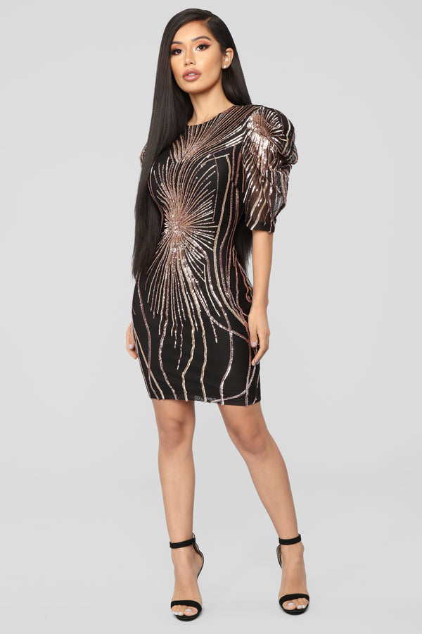 2118690adc I Found A Reason Sequin Dress - Black Rose Gold