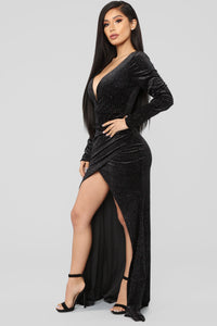 Black Tie Formal Velvet Dress - Black