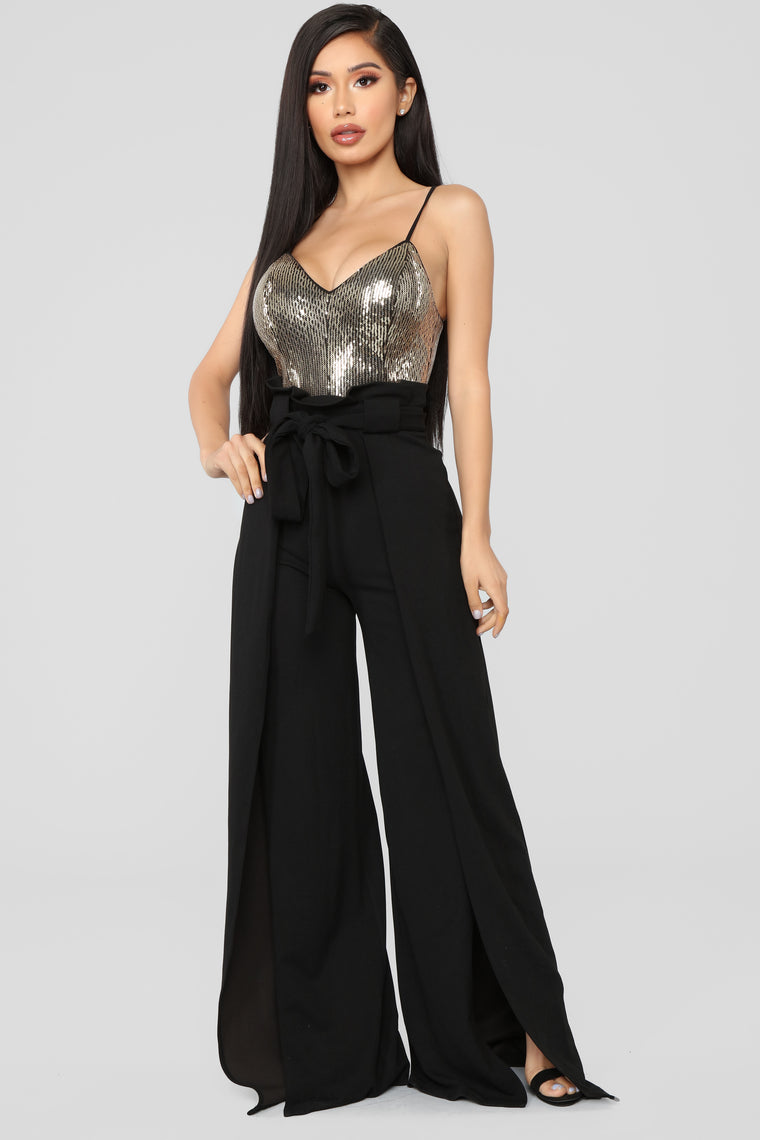 Glittering Baby Jumpsuit - Black/Gold