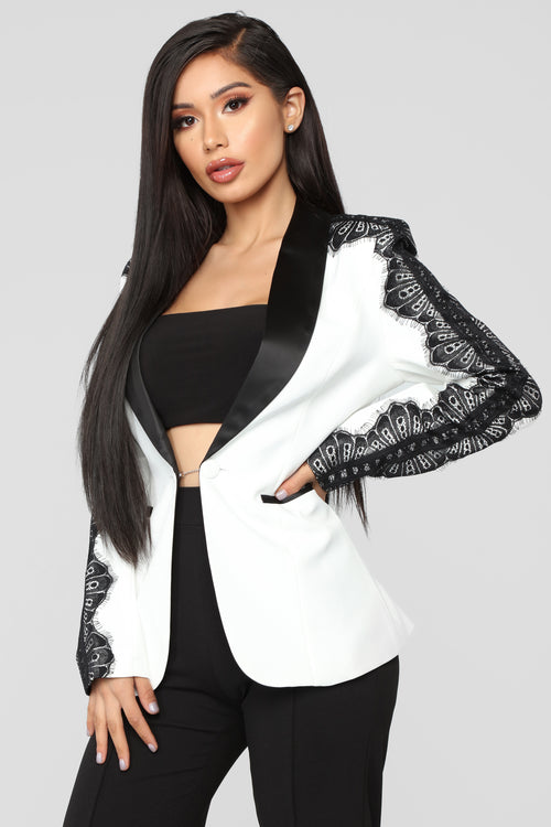 She Means Business Lace Trim Blazer - White