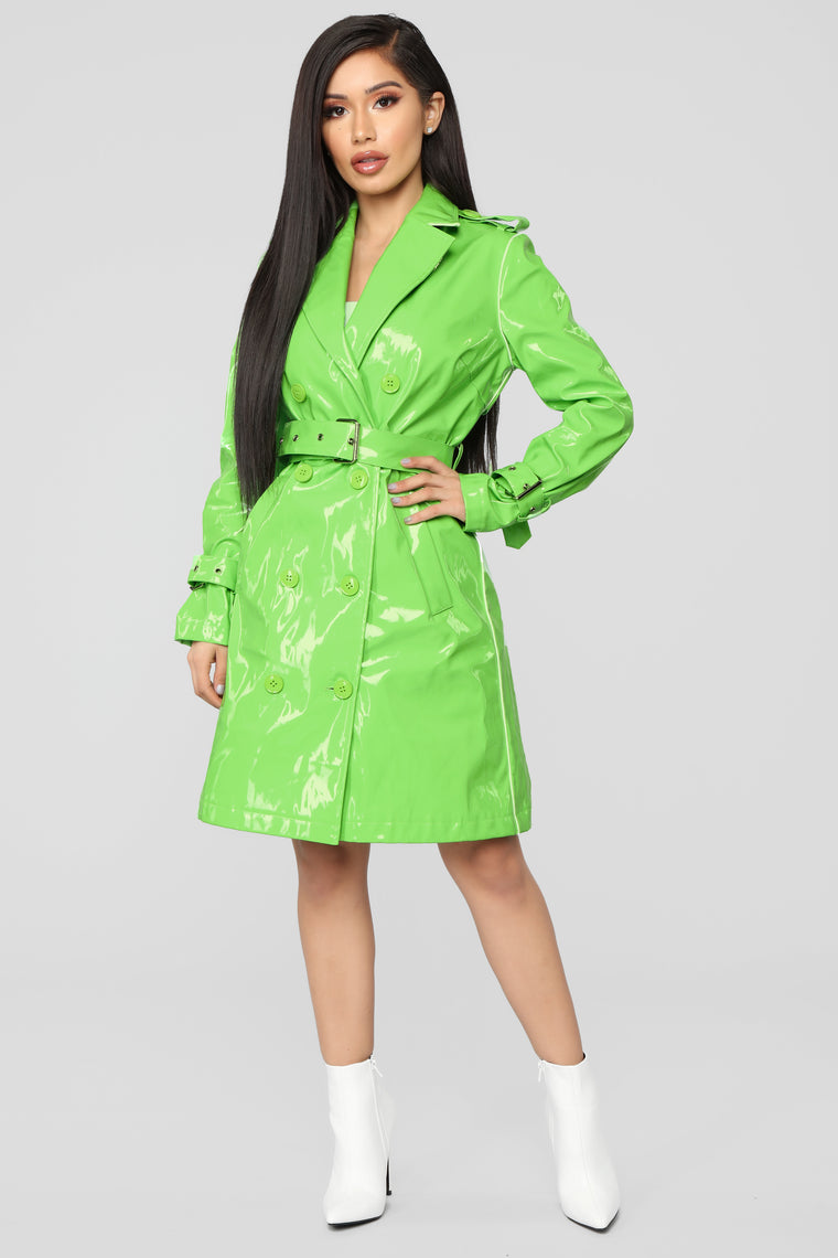 Glow Girl Trench Coat - Lime