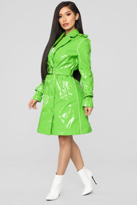 Glow Girl Trench Coat - Lime Angle 3