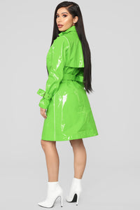 Glow Girl Trench Coat - Lime Angle 4