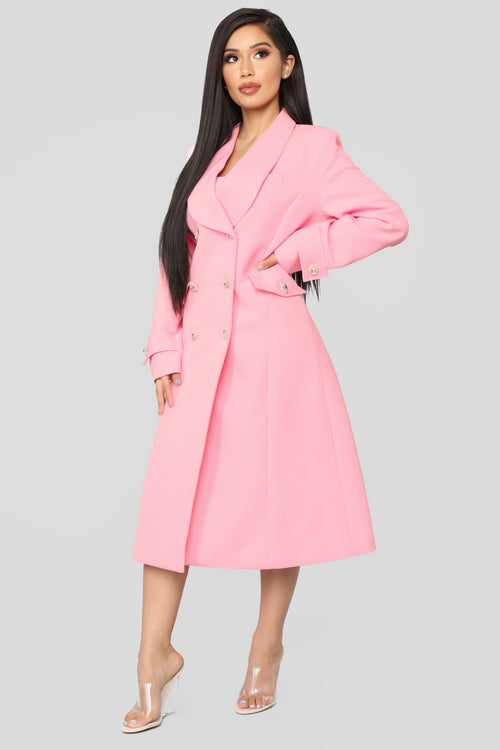 Down Rodeo Drive Trench Coat - Pink
