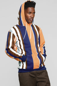 Walk The Line Striped Hoodie - Blue/combo