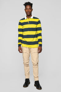 The Rugby Long Sleeve Polo - Yellow/Combo