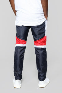 Riccardo Nylon Track Pant - Red/White