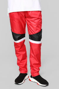 Riccardo Nylon Track Pant - Red/Black