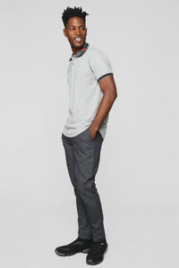 Brandon Short Sleeve Polo Shirt - Heather Grey