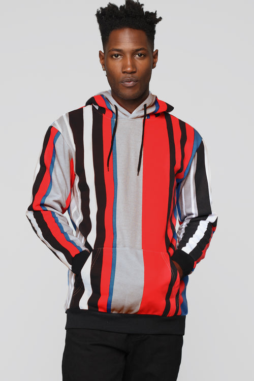 Walk The Line Striped Hoodie - Red/combo