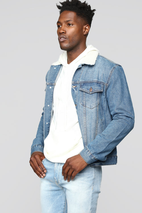 Jonathan Sherpa Denim Jacket - Medium Wash