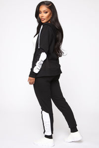 Repeat My Love Sequin Jogger - Black