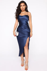 Miss Honey Satin Midi Slip Dress - Navy