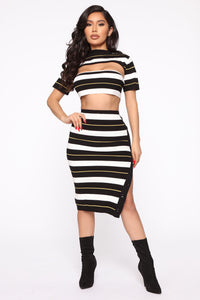 Stripe Down 3 Piece Set - Black/Combo Angle 1