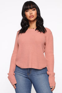 Lilly Lace Up Sweater - Mauve Angle 1