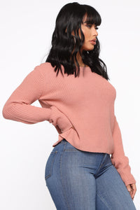 Lilly Lace Up Sweater - Mauve Angle 3