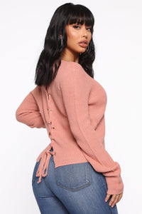 Lilly Lace Up Sweater - Mauve Angle 5