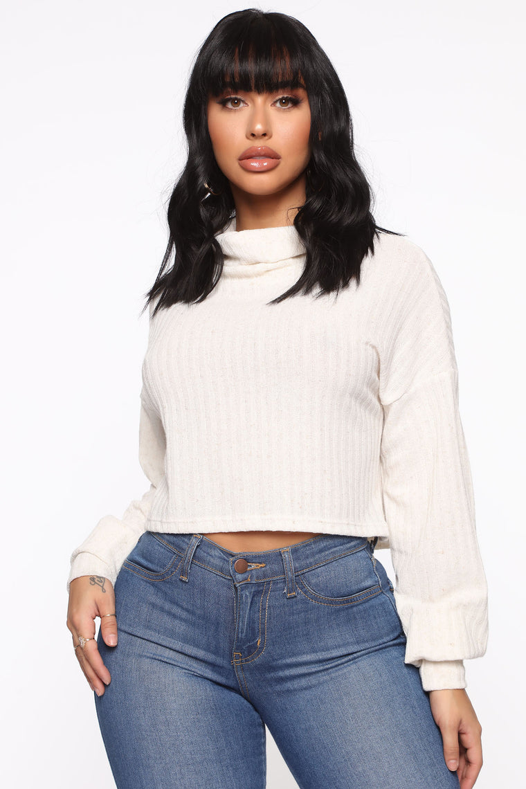 Off With His Head Turtleneck Top - Ivory