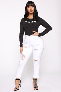 Glow'd Up Girl Long Sleeve Bodysuit - Black Angle 3