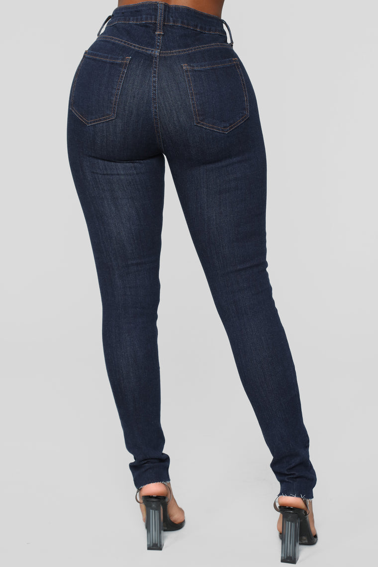 Samantha High Rise Distressed Jeans - DarkDenim