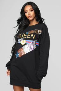 Star Queen Tunic Dress - Black/Multi