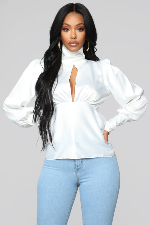 Lady Lady Satin Top - White