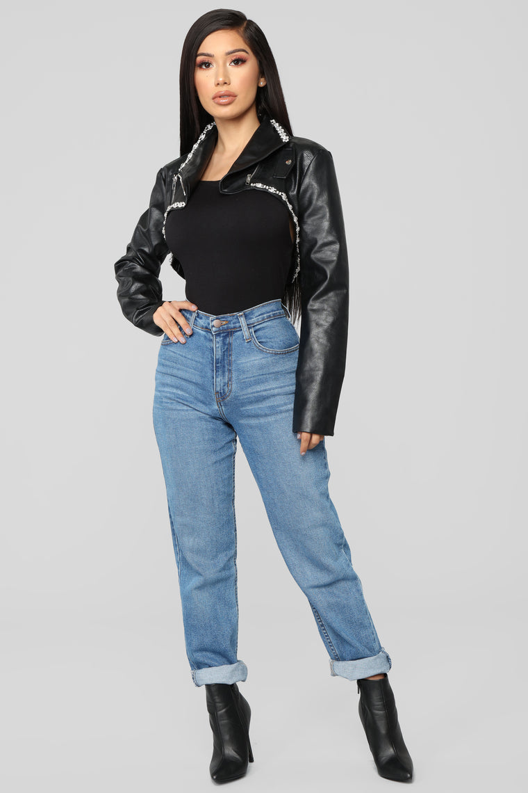 Rhinestone Flair Cropped Jacket - Black