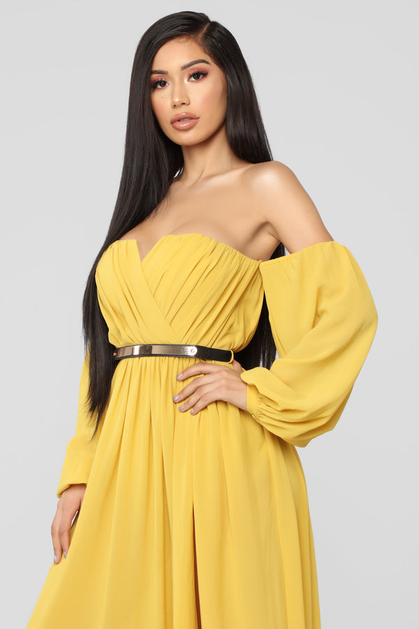 d5c454c1f7 Dinner On The Beach Dress - Mustard