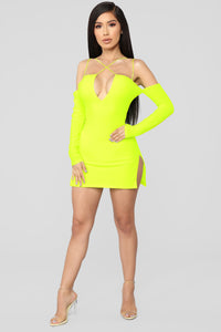 Highlight Of My Day Mini Dress - Neon Yellow Angle 2