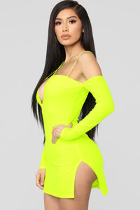 Highlight Of My Day Mini Dress - Neon Yellow Angle 4