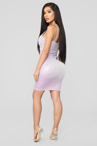 Cut To The Chase Metallic Dress - Pink/Purple