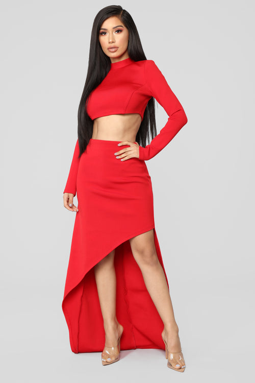 Always In My Head Bandage Skirt Set - Red
