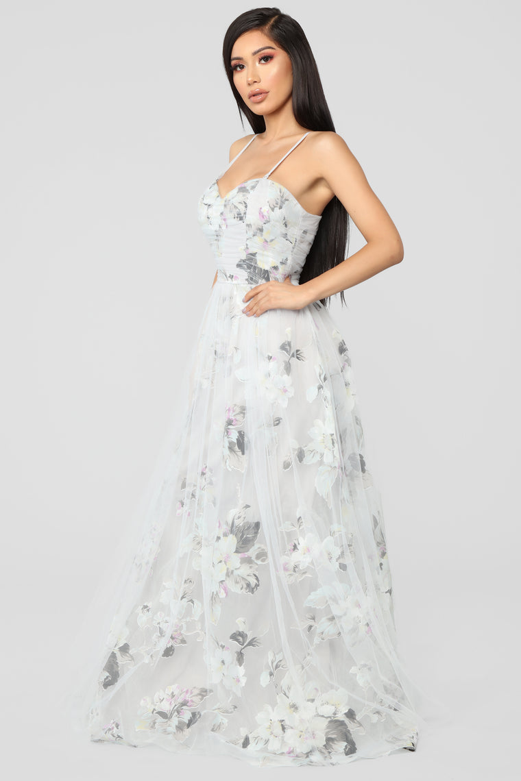 Mystic Desire Floral Maxi Dress - Grey