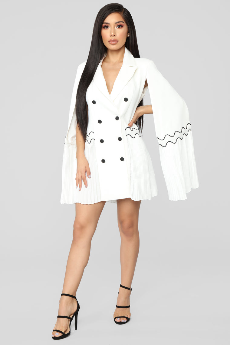 Marching To Her Own Beat Blazer Dress - White