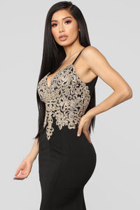 Evening In Paris Embellished Dress - Black