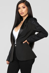 She Means Business Lace Trim Blazer - Black